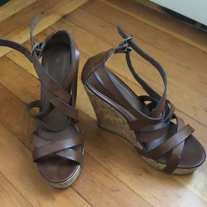 Shoedazzle brown strappy sandals